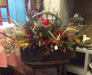 Rustic fall arrangement Nicks Greenhouse